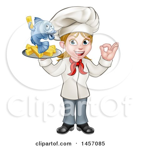 Clipart of a Cartoon Happy White Female Chef Gesturing Perfect and Holding a Fish and Chips Tray - Royalty Free Vector Illustration by AtStockIllustration