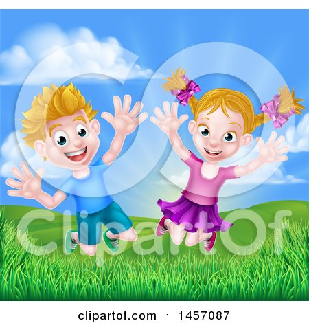 Clipart of a Cartoon Happy Excited Blond Caucasian Boy and Girl Jumping Outdoors - Royalty Free Vector Illustration by AtStockIllustration