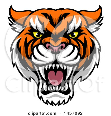 Clipart of a Tough Tiger Mascot Face - Royalty Free Vector Illustration by AtStockIllustration