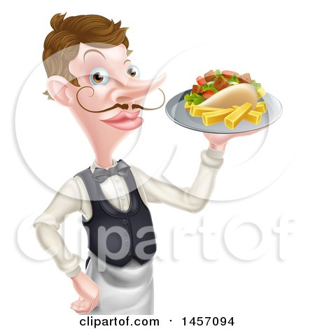 Clipart of a Cartoon Caucasian Male Waiter with a Curling Mustache, Holding a Kebab Sandwich and Fries on a Tray - Royalty Free Vector Illustration by AtStockIllustration