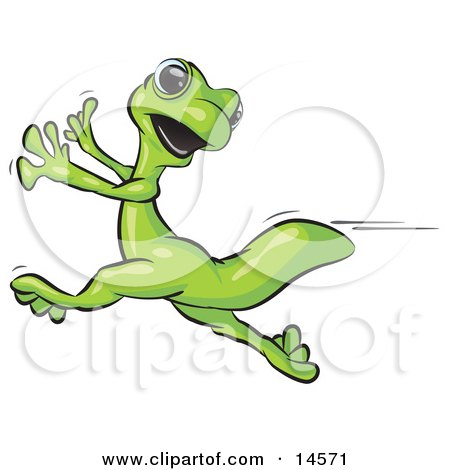 Scared Gecko Lizard Running Clipart Illustration by Leo Blanchette