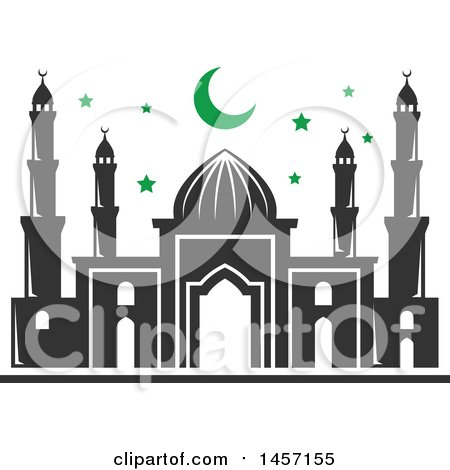 Clipart of a Ramadan Kareem Design with a Mosque - Royalty Free Vector Illustration by Vector Tradition SM