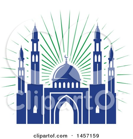 Clipart of a Blue and Green Ramadan Kareem Design with a Mosque - Royalty Free Vector Illustration by Vector Tradition SM
