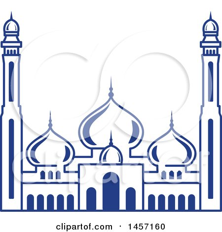 Clipart of a Blue Ramadan Kareem Design with a Mosque - Royalty Free Vector Illustration by Vector Tradition SM