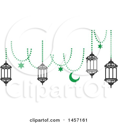 Clipart of a Black and Green Ramadan Kareem Design with a Moon and Hanging Lanterns - Royalty Free Vector Illustration by Vector Tradition SM