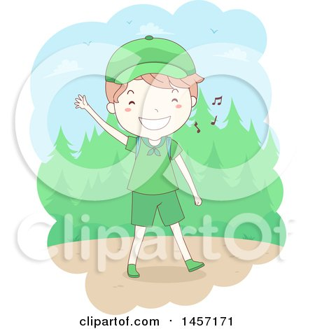 Clipart of a Sketched Happy Caucasian Scout Boy Waving and Whistling While Hiking - Royalty Free Vector Illustration by BNP Design Studio