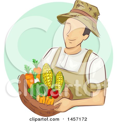 Clipart of a Sketched White Male Farmer Holding a Basket of Produce in a Green Circle - Royalty Free Vector Illustration by BNP Design Studio