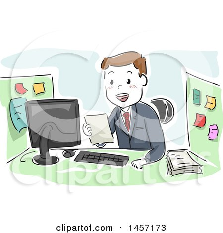Clipart of a Sketched White Businessman Reading a Document at His Office Cubicle - Royalty Free Vector Illustration by BNP Design Studio