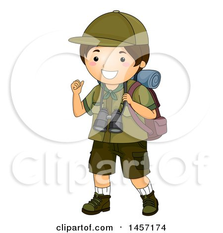 Clipart of a Happy Brunette Caucasian Scout Boy Gesturing Behind Him and Hiking with Camping Gear - Royalty Free Vector Illustration by BNP Design Studio