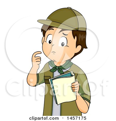 Clipart of a Confused Brunette Caucasian Scout Boy Looking at a Book - Royalty Free Vector Illustration by BNP Design Studio