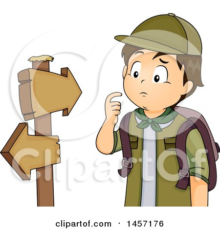 Clipart of a Lost Brunette Caucasian Scout Boy Looking at Hiking Arrow Signs - Royalty Free Vector Illustration by BNP Design Studio