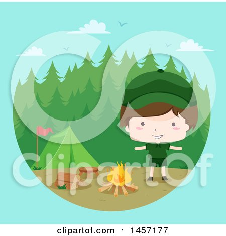 Clipart of a Happy Brunette Caucasian Scout Boy by a Campfire, over Blue - Royalty Free Vector Illustration by BNP Design Studio