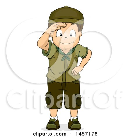 Clipart of a Happy Brunette Caucasian Scout Boy Shielding His Eyes and Looking at Something - Royalty Free Vector Illustration by BNP Design Studio