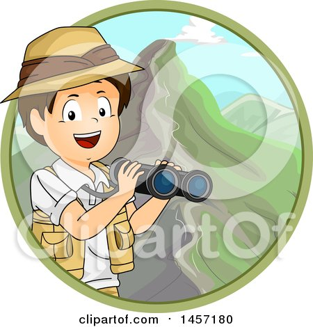 Clipart of a Brunette White Explorer Boy Holding Binoculars in a Circle of Mountains - Royalty Free Vector Illustration by BNP Design Studio
