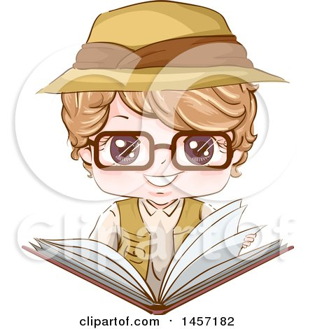 Clipart of a Blond White Explorer Boy Reading a Book - Royalty Free Vector Illustration by BNP Design Studio
