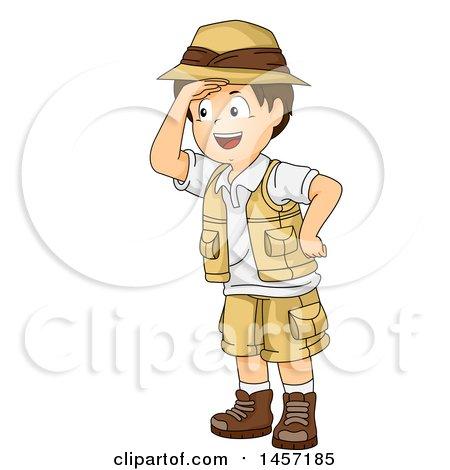 Clipart of a Brunette White Explorer Boy Shielding His Eyes - Royalty Free Vector Illustration by BNP Design Studio