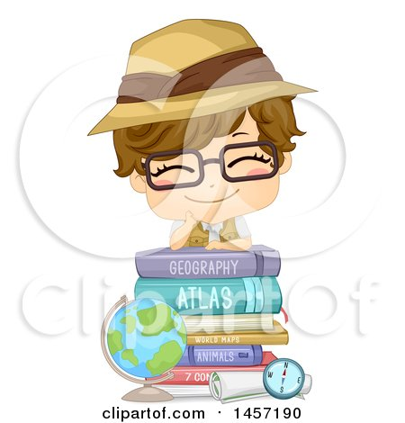 Clipart of a Happy White Boy Wearing a Safari Hat and Resting on a Stack of Books by a Desk Globe - Royalty Free Vector Illustration by BNP Design Studio