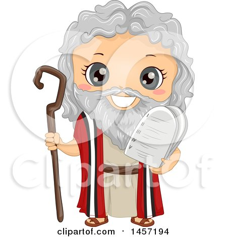 Clipart of a Happy Boy in a Moses Costume - Royalty Free Vector Illustration by BNP Design Studio