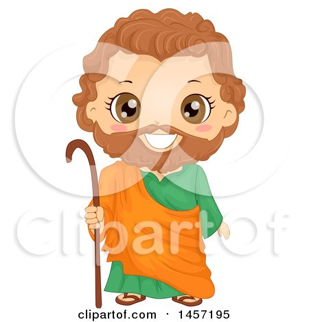 Clipart of a Happy Boy in a Joseph Costume - Royalty Free Vector Illustration by BNP Design Studio