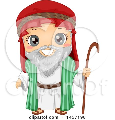 Clipart of a Happy Boy in an Abraham Costume - Royalty Free Vector Illustration by BNP Design Studio
