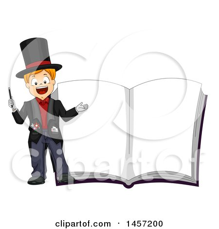 Clipart of a Happy Caucasian Boy Magician by a Giant Book with Blank Pages - Royalty Free Vector Illustration by BNP Design Studio