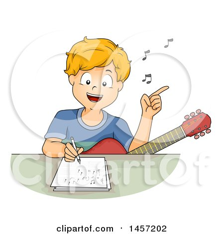 Clipart of a Happy Blond Caucasian Boy Singing with a Guitar in His Lap and Writing a Song - Royalty Free Vector Illustration by BNP Design Studio
