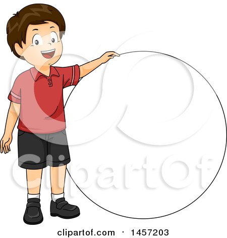 Clipart of a Happy Brunette Caucasian Boy by a Circle - Royalty Free Vector Illustration by BNP Design Studio