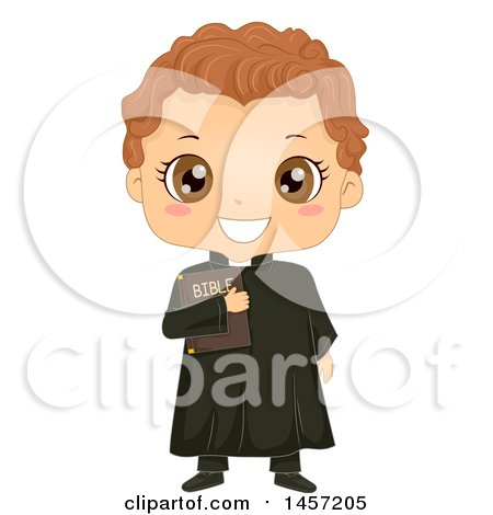 Clipart of a Happy Boy in a Priest Costume - Royalty Free Vector Illustration by BNP Design Studio