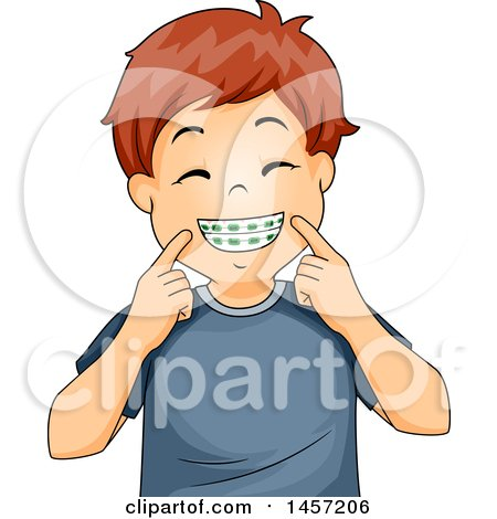 Clipart of a Happy Red Haired Caucasian Boy Showing His Braces - Royalty Free Vector Illustration by BNP Design Studio