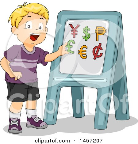 Clipart of a Happy Blond Caucasian School Boy Learning About Currencies - Royalty Free Vector Illustration by BNP Design Studio