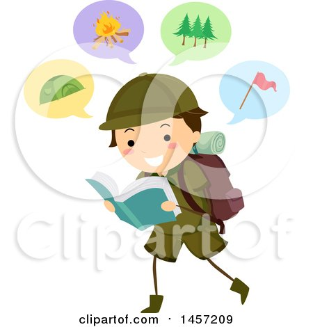 Clipart of a Brunette Caucasian Scout Boy Reading About Camping - Royalty Free Vector Illustration by BNP Design Studio