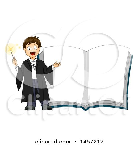 Clipart of a Caucasian Wizard Boy by a Giant Magic Book - Royalty Free Vector Illustration by BNP Design Studio