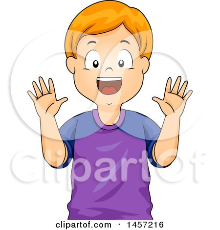 Clipart of a Happy Red Haired Caucasian Boy Showing His Hands - Royalty Free Vector Illustration by BNP Design Studio