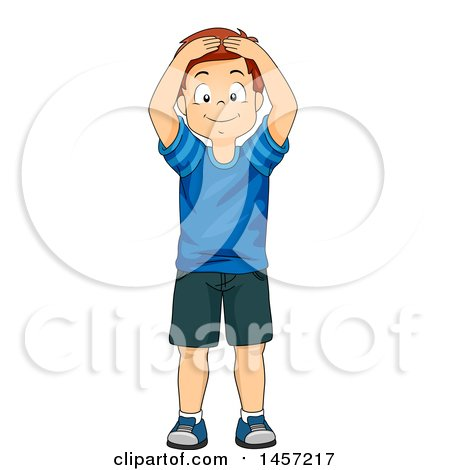 Clipart of a Happy Red Haired Caucasian Boy Touching His Head - Royalty Free Vector Illustration by BNP Design Studio