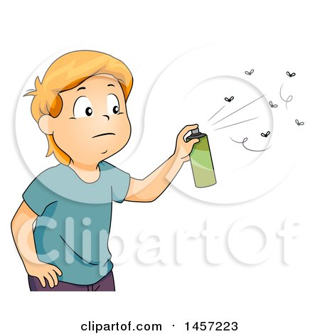 Clipart of a Red Haired Caucasian Boy Spraying Bugs with Repellant - Royalty Free Vector Illustration by BNP Design Studio