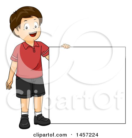 Clipart of a Happy Brunette Caucasian Boy Holding up a Blank Square or Sign - Royalty Free Vector Illustration by BNP Design Studio