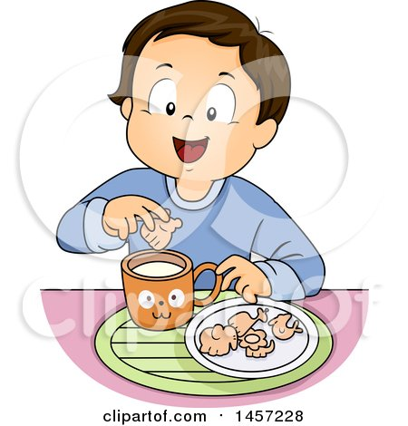 Clipart of a Brunette White Boy Dipping Animal Crackers in Milk - Royalty Free Vector Illustration by BNP Design Studio