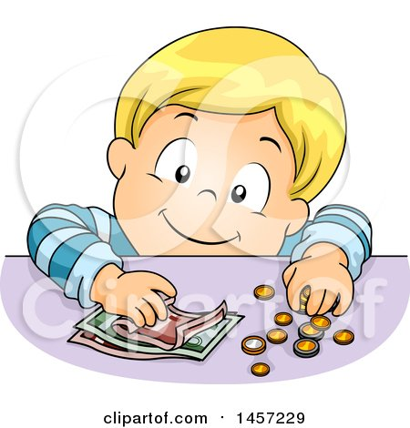 Clipart of a Blond White Boy Counting Coins and Cash - Royalty Free Vector Illustration by BNP Design Studio