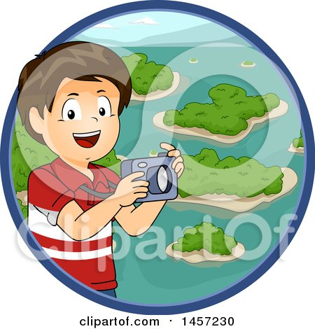 Clipart of a Brunette White Boy Holding a Camera over a Circle of Islands - Royalty Free Vector Illustration by BNP Design Studio