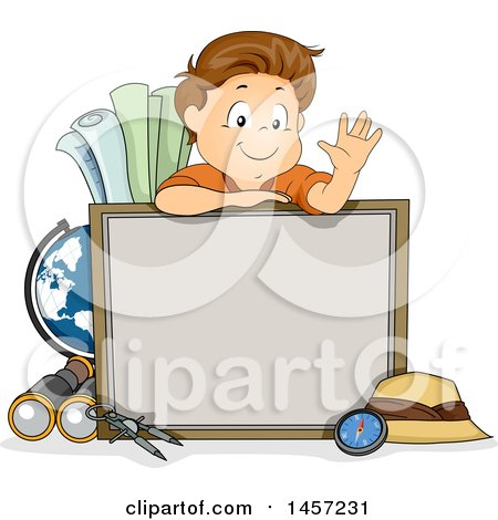 Clipart of a Brunette White School Boy Waving over a Board, Surrounded by Geography Items - Royalty Free Vector Illustration by BNP Design Studio