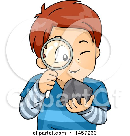 Clipart of a White School Boy Studying a Rock with a Magnifying Glass - Royalty Free Vector Illustration by BNP Design Studio