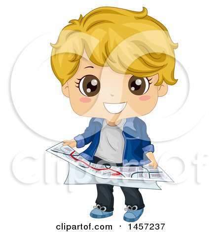 Clipart of a Blond White Boy Holding a Map - Royalty Free Vector Illustration by BNP Design Studio