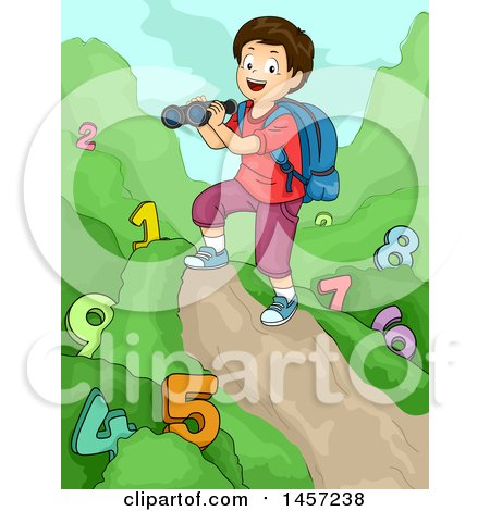 Clipart of a White Boy Holding Binoculars and Studying Numbers on a Trail - Royalty Free Vector Illustration by BNP Design Studio