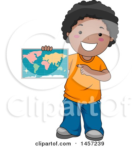 Clipart of a Happy Black School Boy Holding and Pointing to a Map - Royalty Free Vector Illustration by BNP Design Studio