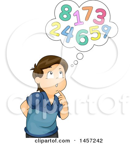 Clipart of a Brunette White Boy Thinking About Numbers - Royalty Free Vector Illustration by BNP Design Studio