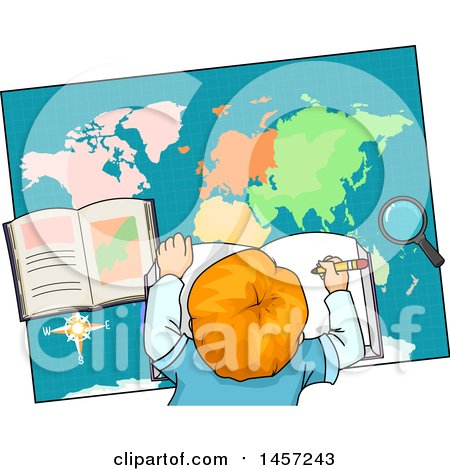 Clipart of a Red Haired White School Boy Studying a Map - Royalty Free Vector Illustration by BNP Design Studio