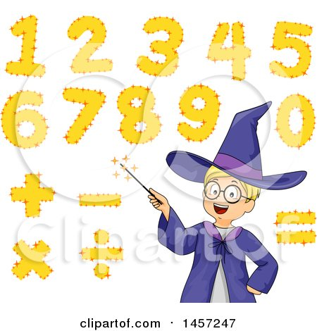 Clipart of a Math Wizard White Boy with a Magic Wand and Numbers - Royalty Free Vector Illustration by BNP Design Studio