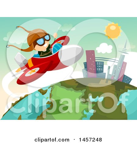 Clipart of a White Boy Pilot Flying a Plane over a Globe - Royalty Free Vector Illustration by BNP Design Studio