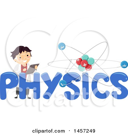 Clipart of a School Boy in a Lab Coat with an Atom and Physics Text - Royalty Free Vector Illustration by BNP Design Studio