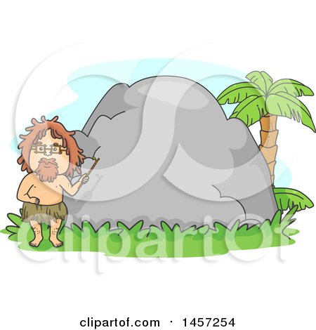Clipart of a Caveman Teacher Holding a Pointer Stick in Front of a Boulder - Royalty Free Vector Illustration by BNP Design Studio